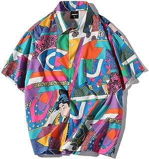 Men's Short-Sleeve Japanese Harajuku Shirt Summer Floral Shirts