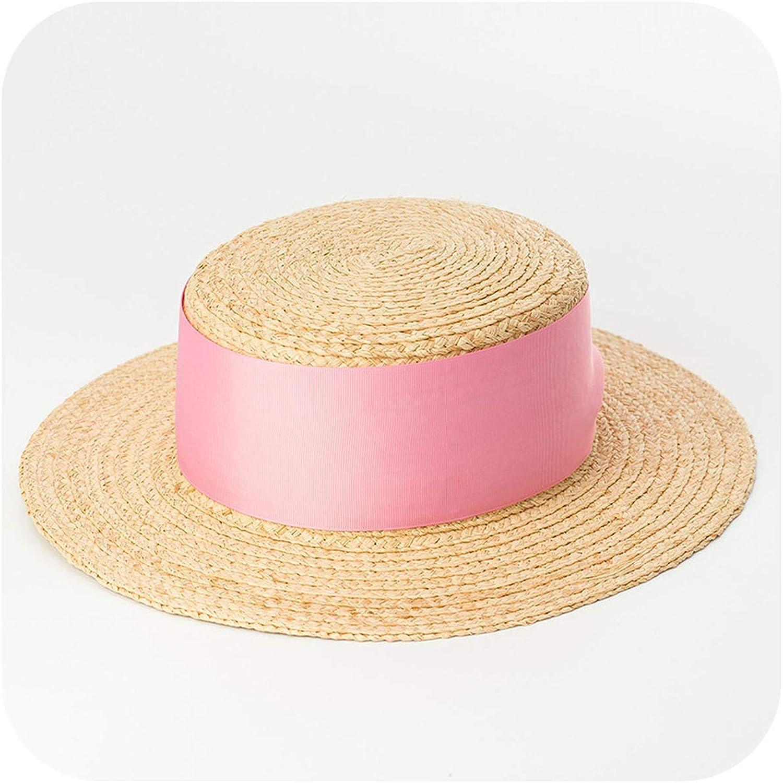 4057afc77f924 Raffia Straw Boater Hat Beach Hat Ladies Fashion Summer Sun Hats for ...