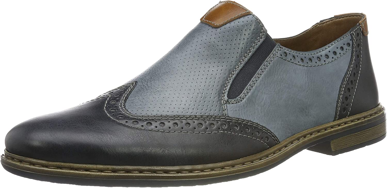 Rieker Men's 13473-15 Loafers, Blue (Ozean/Ozean/Amaretto 15), 10.5 UK