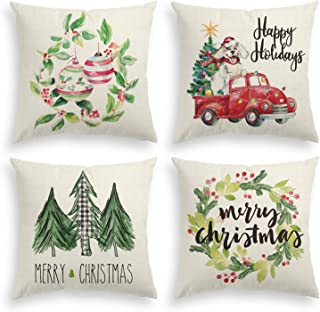 AVOIN Christmas Watercolor Throw Pillow Cover, 18 x 18 Inch Christmas Tree Flower Wreath Dog Truck Winter Holiday Linen Cushion Case for Sofa Couch Set of 4