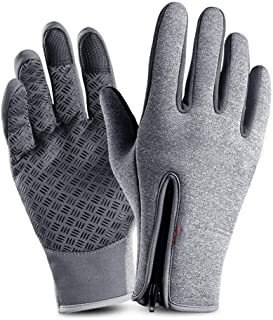 LJJOO Touch Screen Gloves Outdoor Riding Gloves Zipper Sports Warm Plus Velvet Mountaineering Ski Gloves (Color : Gray, Size : L)