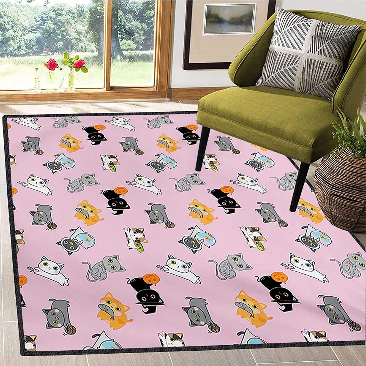 Cat, Area Rug Door Mat, colorful Cute Kittens Playing with Fish Mice and Yarnball Different Breeds of Feline, Door Mats for Inside Non Slip Backing 6x7 Ft Multicolor