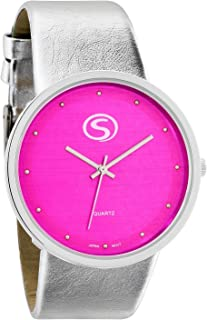 M&c Unisex | Funky Minimalist Large Pink Face Metalic Silver Band Watch with Japanese Quartz | SN9658HP