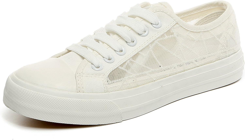 Davikey Women's Lace up Mesh Flat shoes