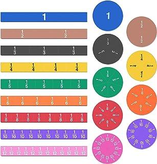 Meetory 102 Pcs Magnetic Fraction Tiles & Fraction Circles - Math Manipulatives for Preschool Elementary School Learning E...
