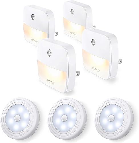 Vont Motion Sensor Lights 3-Pack + Night Lights 4-Packs Bundle - Excellent Lighting Combo for Every Home - Must-Have Night Lighting for Your Stairways, Hallways, Bedroom - Efficient, Reliable, Safe