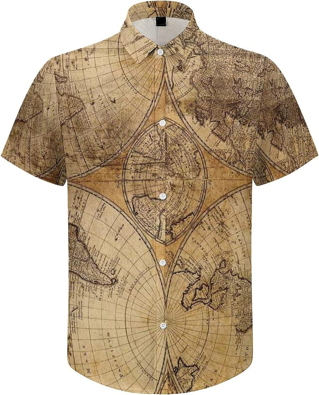 Hawaiian Shirts for Men Old Circle World Map Printed Beach Shirt Hawaiian Shirts