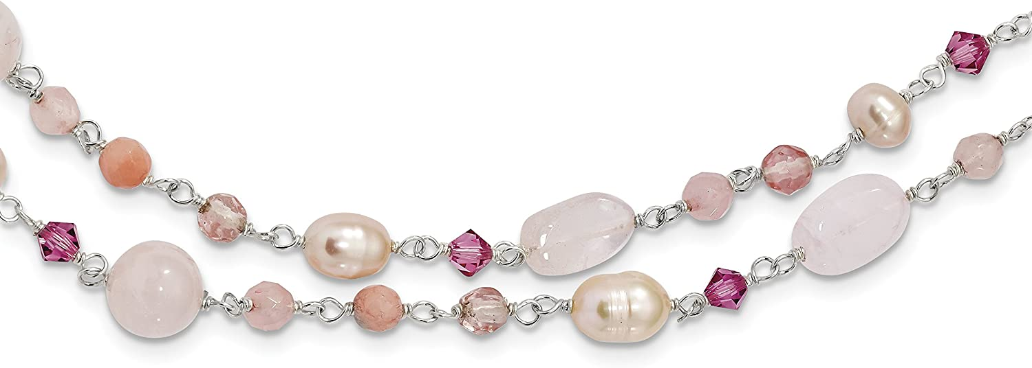 925 Sterling Silver Pink CultPearl and pink Quartz pinkline Necklace 56inch
