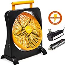 O2COOL 10-Inch Battery Operated Fan - Portable with Internal Rechargeable Battery, Multiple Power Options - AC/DC Adapter, USB Port for Emergencies, Camping, Travel, Indoor and Outdoor Use (Orange)