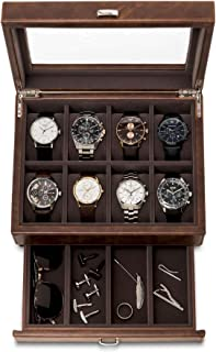 TAWBURY Leather Watch Box for Men | 12 Slot Watch Case...