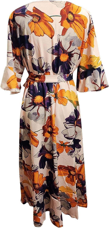 Women Casual Ruffle Half Sleeve Ranking TOP15 Bandage Loose Dress V-Neck Long Mail order
