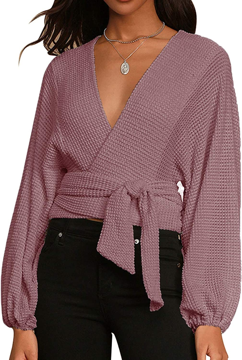 Women's V Neck Long Sleeve Wrap Sweater Loose Casual Waffle Knit Pullover Tops