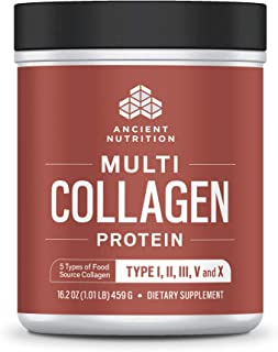 Ancient Nutrition Multi Collagen Protein Powder, 5 Types of Food Sourced Collagen, Providing Types I, II, III, V, and X, 16.2 Ounce