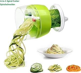 Fun Life Mini cortador de verduras en espiral con mango giratorio de buen agarre, 3 cuchillas intercambiables para patrón de corte variable