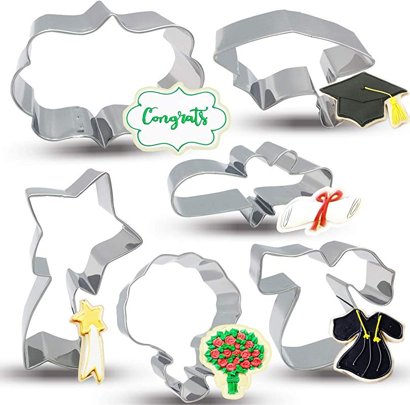 Bonropin Graduation Cookie Cutters Set 6 Piece Stainless Steel Graduation Cap Gown Diploma Bouquet Shooting Star Plaque Frame Cutters Mold For Making Pastry Cake Fondant Pancake