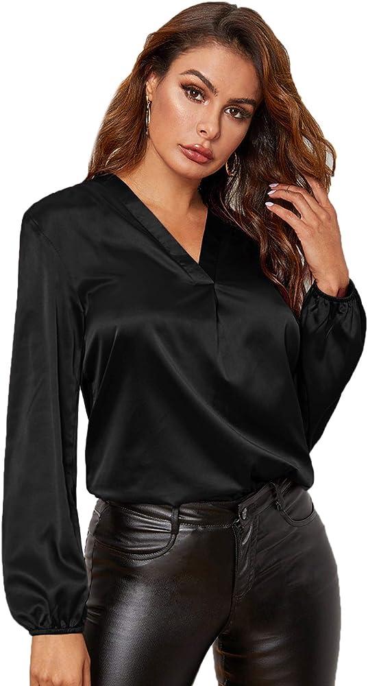 Soly hux., camicetta da donna, in raso, elegante, a maniche lunghe, scollo a v,100% poliestere 07190909960-15-3-XS