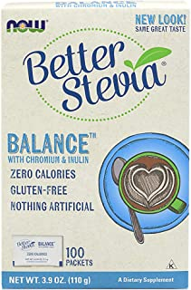 NOW Foods, Better Stevia Balance with Chromium and Inulin, Zero-Calories, Gluten-Free, Kosher, 100 Packets