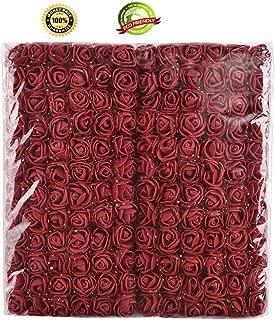 Foam Rose Fake Flowers Crafts 144 pcs 2 cm Mini Wreaths Artificial Flower Bouquet Multicolor Rose Flower Wedding Scrapbooking Decoration Rose Fake Flower (Burgundy)