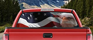 Waving American Flag Bald Eagle Angry Eyes Full Color Back window graphic Decal Truck Backscape 66 X 20 Inches