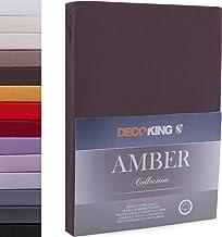 DecoKing prześcieradło z gumką 140x200-160x200 cm jersey bawełna brązowe Amber