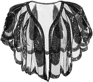 Urtane Women's 1920s Shawl Beaded Sequin Deco Evening Cape Bolero Flapper Cover Up