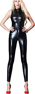 Womens Sexy Sleeveless Zipper Up Faux Leather Bodysuit Lingerie Clubwear