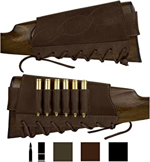 BronzeDog Adjustable Leather Buttstock Cartridge Ammo Holder for Rifles 12 16 Gauge or .30-30 .308 Caliber Hunting Ammo Pouch Bag Stock Right Handed Shotgun Shell Holder