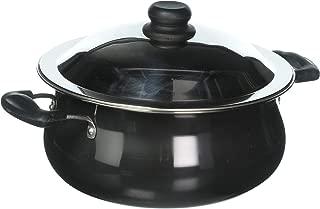 Vinod Pearl Hard Anodised Handi with Stainless Steel Lid, 6.5 L, Black