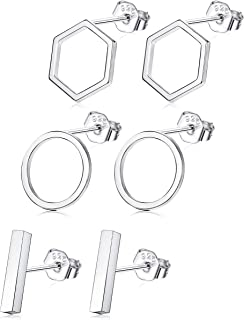 3 Pairs 925 Sterling Silver Stud Earrings Set Bar Earrings Geometric for Men Women Circle Earrings Hexagon Hypoallergenic Different Shapes