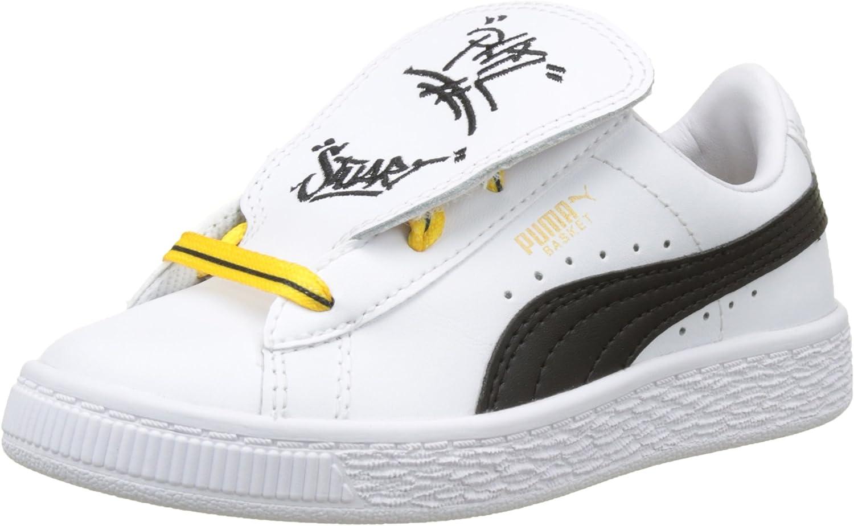 Puma Basket Tongue PS, Sneakers Basses Garçon Mixte Enfant, Blanc ...