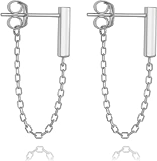 Sterling Silver Gold Chain Earrings - Bar Drop Line Chain Dangle - Small Cute Staple Bar Cable Studs for Women or Girls - Minimalist Modern Design by Galis (Silver & Gold-Plated Variations)