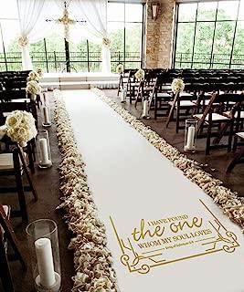 Healon 50 x 3 ft Wedding Aisle Runner White Aisle Runner Rug with Pull String for Wedding Ceremony and Party Golden