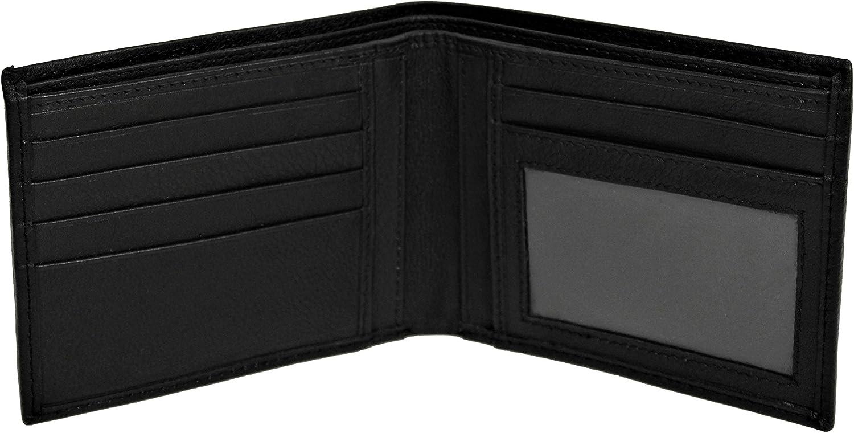 Bullz Men's RFID Blocking Bifold Style Wallet Black Genuine Leather Slim Design I.D Card Holder Carteras Para Hombres