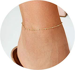 Women Dainty Anklet,14K Gold Plated Satellite Anklet Double Layered Cute Beads Chain Tassel Coin Disc Heart Summer Ankle Bracelet Boho Beach Foot Chain