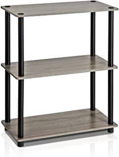 Furinno Turn-N-Tube Display Rack, 3-Tier Single, French Oak Grey/Black