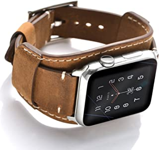 Leotop Compatible with Apple Watch Band 44mm 42mm Men Women Genuine Leather Compatible iwatch Bracelet Wrist Strap Compatible Apple Watch Series 5/4/3/2/1 (Crazy Horse Cuff Brown, 44/42mm)