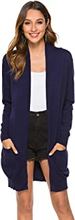 SimpleFun Womens Basic Fall Long Sleeve Lightweight Open Front Long Knit Cardigan Sweaters with Pockets