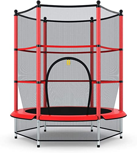 """discount Giantex 55"""" Kids outlet sale sale Trampoline, with Safety Enclosure Net & Spring Pad, Bulit-in Zipper Heavy Duty Steel Frame, Outdoor Indoor Mini Trampolines for Kids sale"""