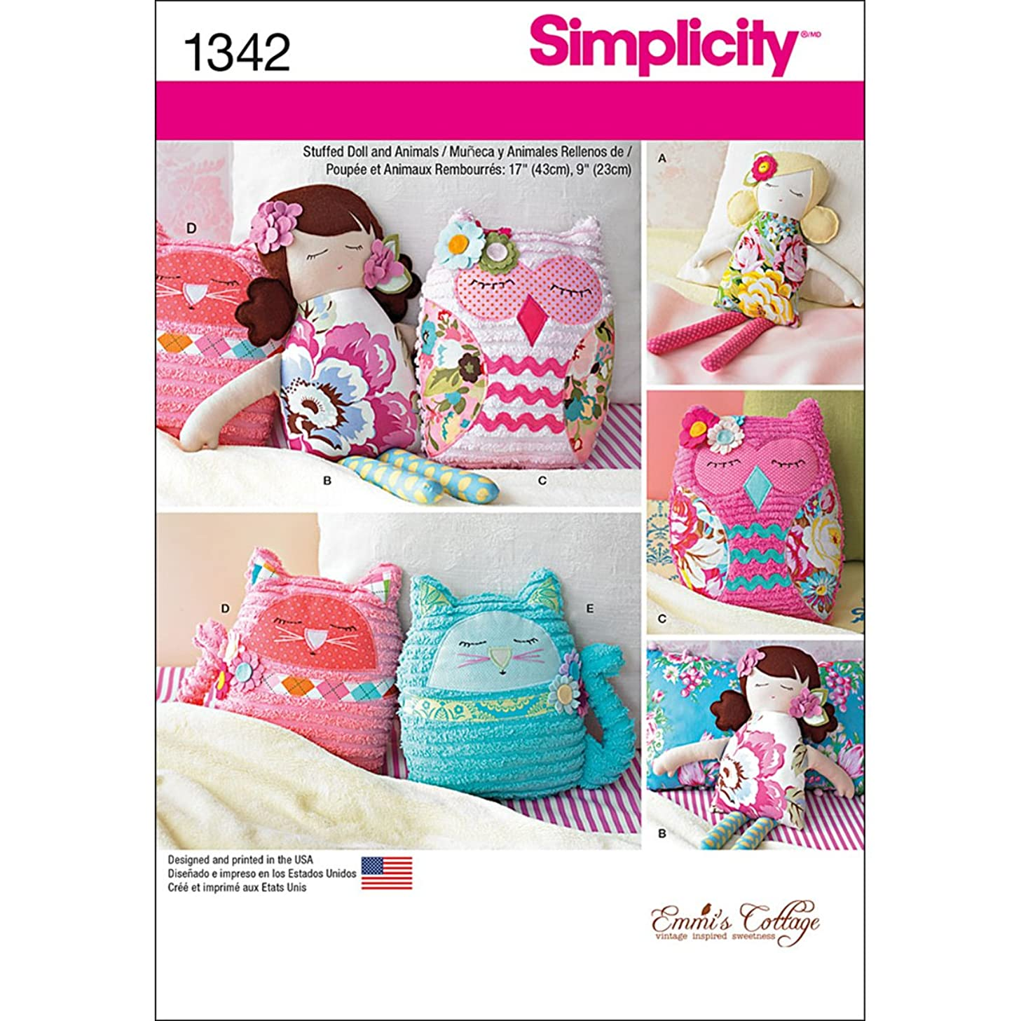 Simplicity 1342 Stuffed Animal and Doll Sewing Patterns, 17'' Doll and 9'' Animals