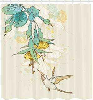"""Ambesonne Hummingbird Shower Curtain, Hummingbird and Tropical Flowers Summertime Exotic Plant Nature Art, Cloth Fabric Bathroom Decor Set with Hooks, 84"""" Extra Long, Teal Yellow"""