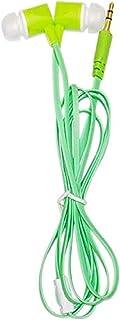 Maeline Bulk Earbuds Pack of 10 Wholesale Earphones Headphones in Bulk 10pcs (Flat Wired, Green)