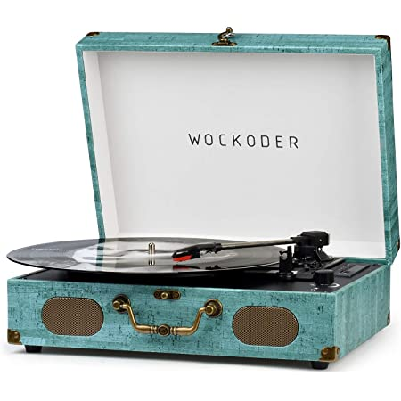Record Player Turntable for Vinyl Record Player Wireless LP Portable Phonograph with Built-in Dynamic Speakers Suitcase Design Turntable USB FM Radio SD 3-Speed Belt-Driven Vinyl Record Player