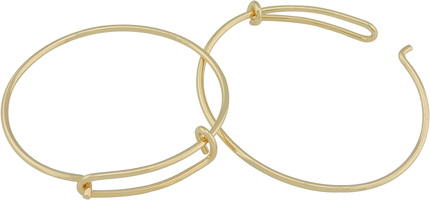 10 pcs Nippon regular Inexpensive agency 2.3 inch Gold Color Wire J Blank Bracelet for Bangle Open