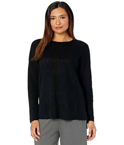 Eileen Fisher Organic Linen Cotton Crew Neck Top (Black) Women