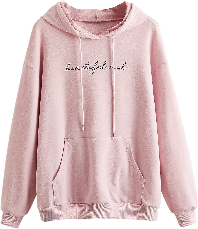 SweatyRocks Women's Cute Cat Print Hoodies Sweatshirt Long Sleeve Drawstring Pullover Shirt
