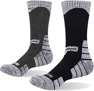YUEDGE Men's Cushion Cotton Crew Socks Outdoor Sports Golf Workout Athletic Hiking Socks