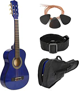"""SALE! 30"""" BLUE Wood Guitar with BONUS Case and Accessories for Kids/Girls/Boys/Beginners"""
