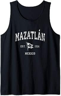 Mazatlan Mexico Vintage Nautical Boat Anchor Flag Sports Tank Top