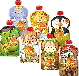 SQUIZ - FABRICATION SUISSE - Lot de 7 Gourdes Rechargeables et Réutilisables 130ml Sans BPA - Pour Compotes, Purées et Smo...