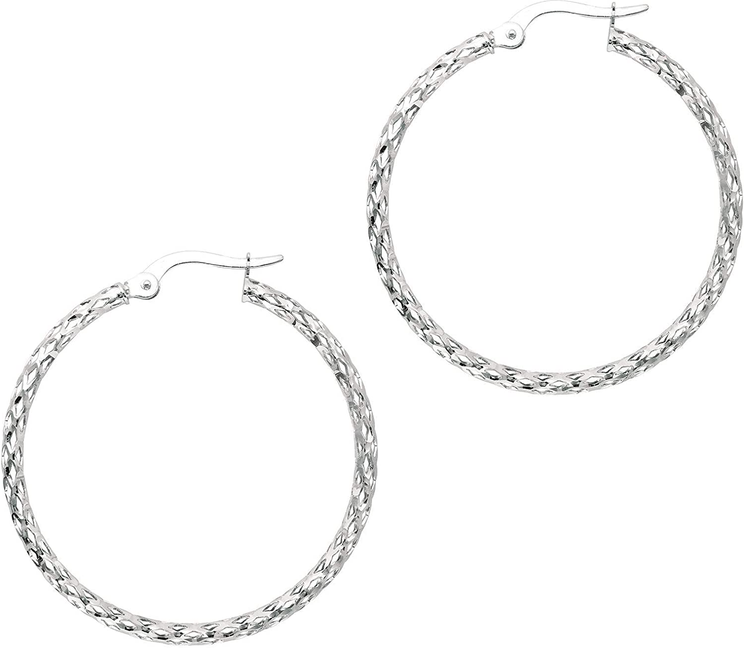 14K White Gold 1.5X27mm Shiny Diamond Cut Fashion Sparkle Large Hoop Earring with Hinged Clasp